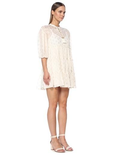 NetWork Kadın 1075357 Yakası Bağcıklı Desenli Mini Elbise Ekru